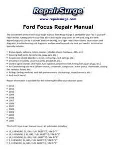 Ford Focus Repair Manual Ford Focus Repair Manual 2000 2012