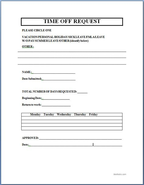 Time Request Form Template