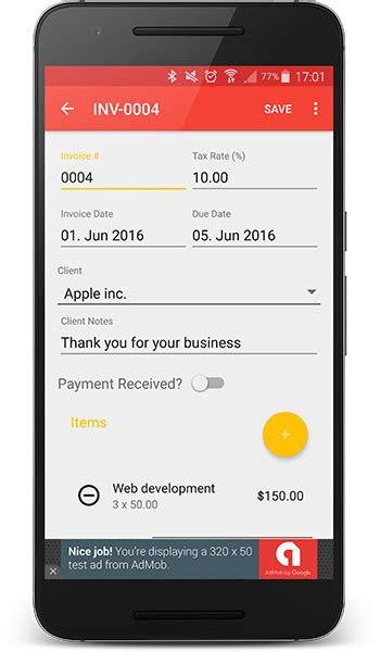 Android Invoices Estimates Template Admob Admin Panel By Bytecodr Invoice Template For Android Phone