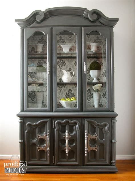 in wall china cabinet china cabinet makeover with wallpaper prodigal pieces