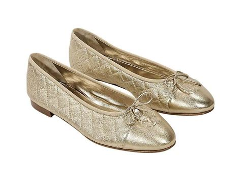 Chanel Quilted Ballet Flats by Gold Chanel Quilted Leather Ballet Flats At 1stdibs