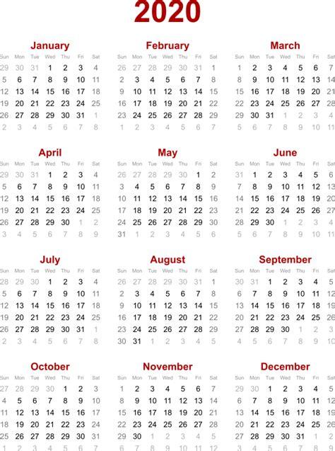 2020 Year Calendar Clipart 2020 Calendar