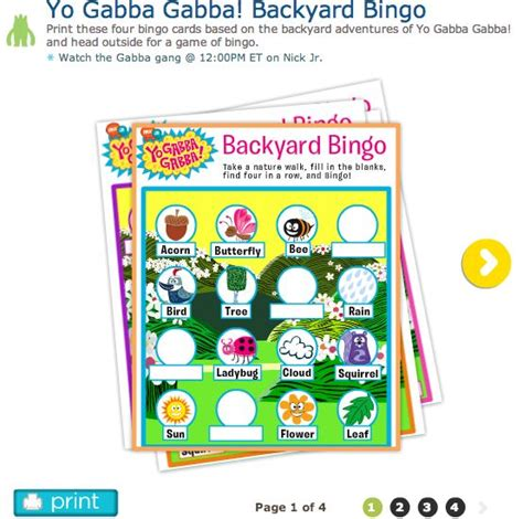 yo gabba gabba backyard bingo free nick jr printable