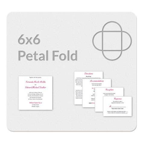 4 fold invitation card template petal fold 6x6 invitation template