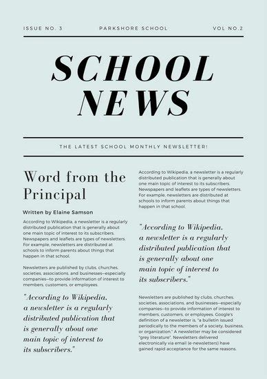 canva newspaper article green simple article school newsletter templates by canva