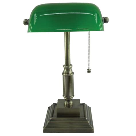 vintage desk l with green glass shade normande lighting 15 in antique brass bankers l with