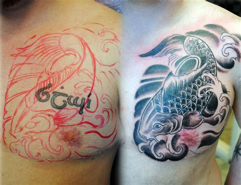 koi fish tattoo cover up koi freehand cover up by gettattoo on deviantart