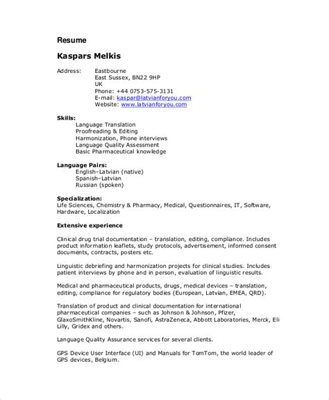 Translator Resume Template by Freelance Resume Template 6 Free Word Pdf Documents