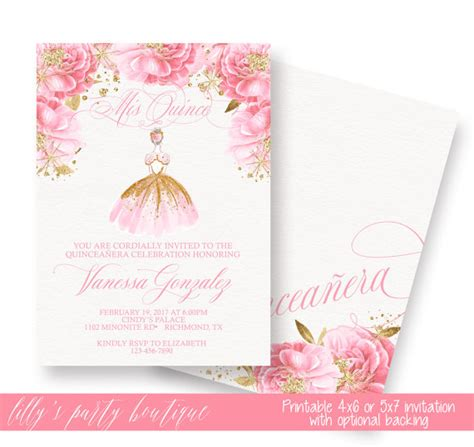 free printable quinceanera invitations quincea 241 era invitation gold quincea 241 era invitation