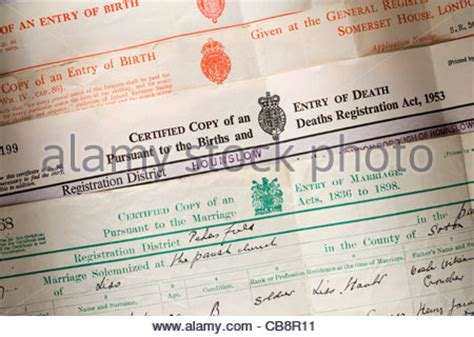 Free Birth Marriage And Records Uk Genealogy Documents Certificates Of Birth Marriage And And Stock Photo