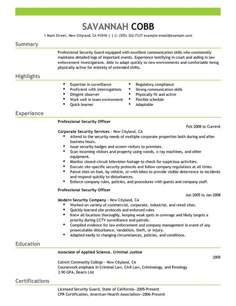 Officer Resume Exles by Sle Resume For Security Officer Sle Resume