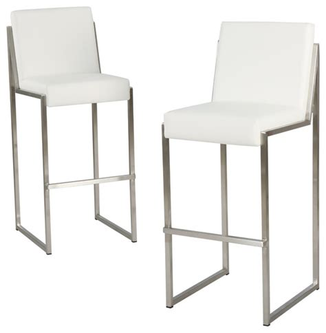 white leather bar stools contemporary velica leather bar stools set of 2 white contemporary bar stools and counter stools by
