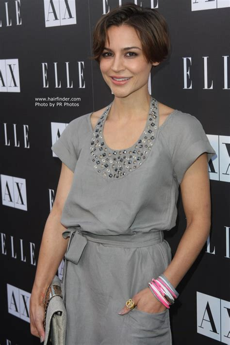 samaire armstrong short hair samaire armstrong with her hair cut short in the back and