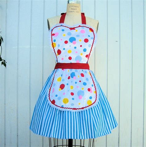 retro apron 50s wonder bread polka dot full apron makes