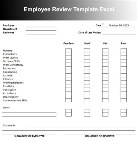 salary review template employee review templates 10 free
