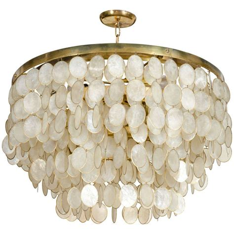 Capiz Pendant Chandelier Captivating Capiz Shell Chandelier At 1stdibs
