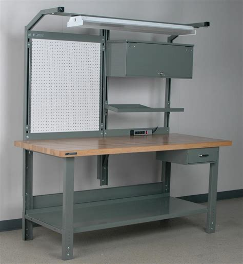 work bench light stackbin workbenches split overhead structure with