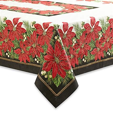 bed bath and beyond christmas tablecloths holiday contempo poinsettia 70 inch round tablecloth bed