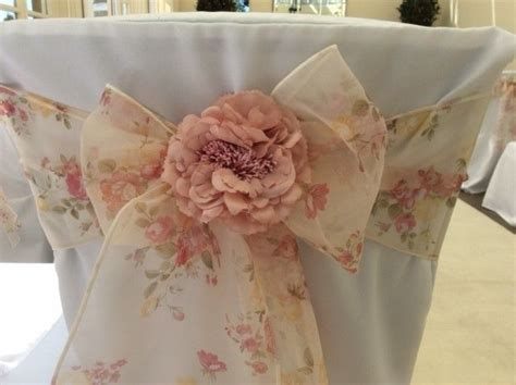 vintage floral pattern wedding chair sash bow with dusky