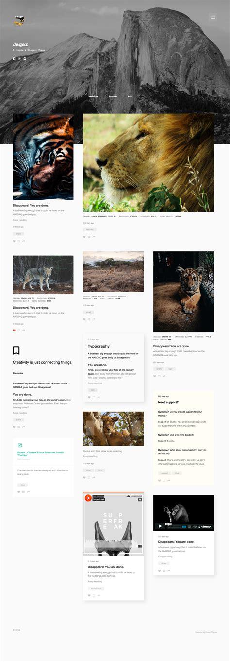 themes for tumblr homepage jeger responsive portfolio tumblr theme by roseathemes
