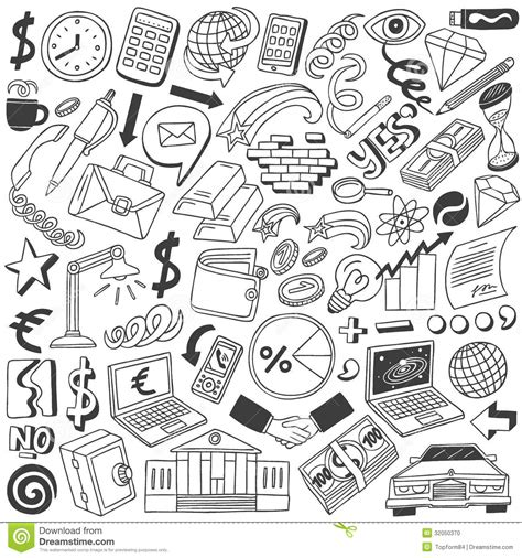 doodle fill free business doodles collection stock photo image 32050370