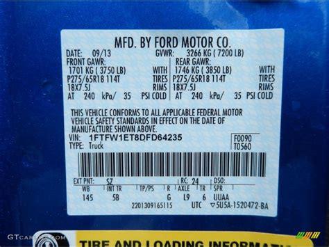 2013 ford f150 fx4 supercrew 4x4 color code photos gtcarlot