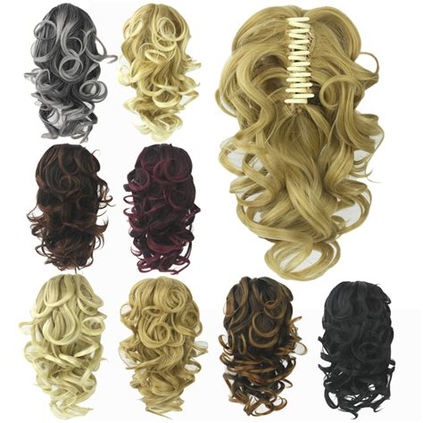 Hairclip Curly Pendek claw thick wavy curly pony layered ponytail clip in on hair extensions ebay