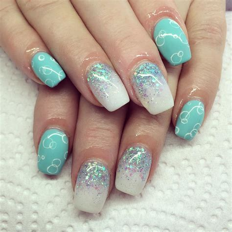 easy nail art blue and white 29 glitter acrylic nail art designs ideas design