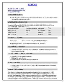 Freshers Resume Format by Fresher Resume Format For B Tech Cse Resume Format