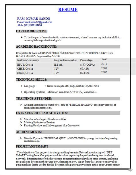 Resume Format For Engineers Freshers Computer Science Fresher Resume Format For B Tech Cse Resume Format