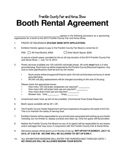booth rental agreement 6 free templates in pdf word