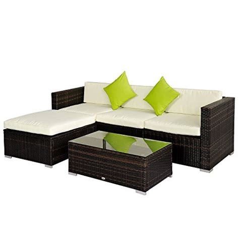Corner Patio Furniture Outsunny Rattan Wicker Conservatory Outdoor Garden Patio Furniture Corner Sofa Set Without