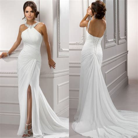 aliexpress gowns white chiffon 2015 front side slit halter beach backless