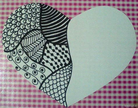 zentangle pattern tagh zentangle patterns in a heart gift tag