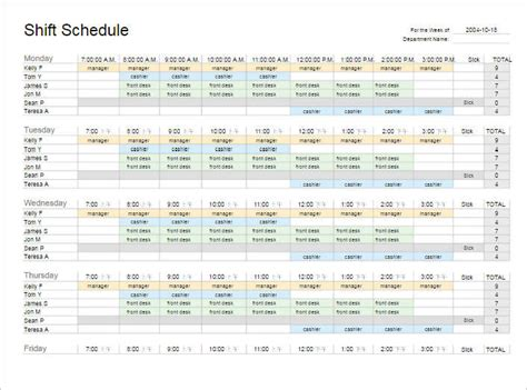 search results for work schedule template free excel