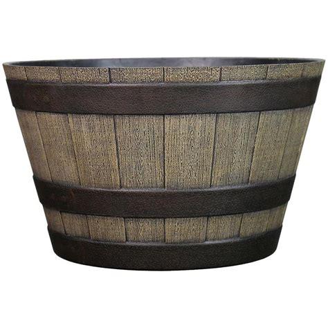 urn planters lowes shop garden treasures 19 25 in x 12 09 in oak resin