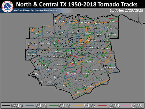 tornadoes in texas map nws fort worth tornado climatology