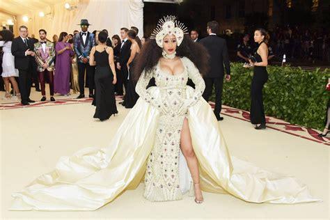 Lomg Cardy Dress Baby Stripe cardi b met gala dress 2018 popsugar fashion