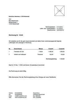 Auto Ohne Mehrwertsteuer Kaufen by Kostenlose Rechnungsvorlage Vorlagen Muster F 252 R Rechnungen