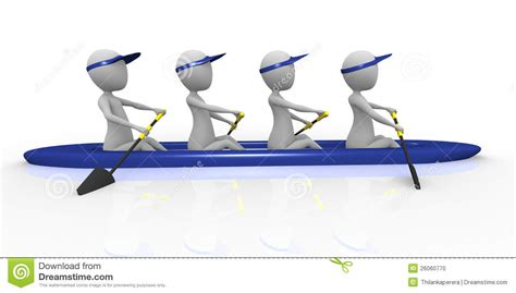 cartoon rowing boat management 3d rowing team stock illustration illustration of male