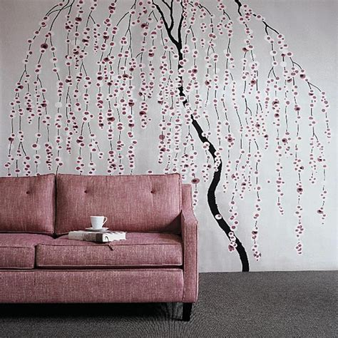 feature wall stickers living room with willow tree wallpaper and pink sofa