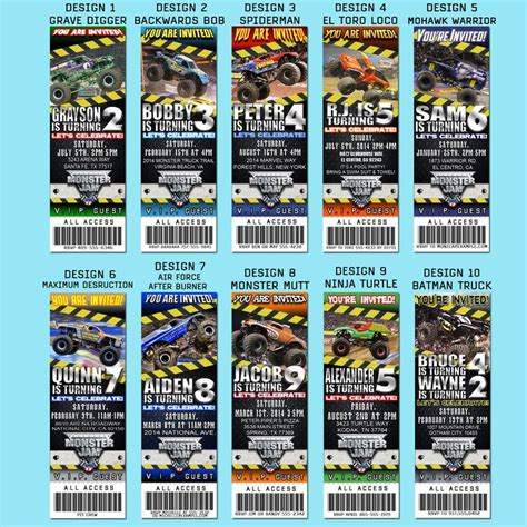 monster jam truck tickets monster truck party invitations 20 ticket style invites