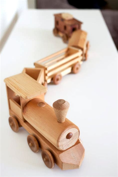 handcrafted wooden toy train set