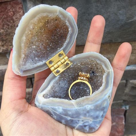 geode engagement ring box amethyst agate and aura quartz 20 ideas for the