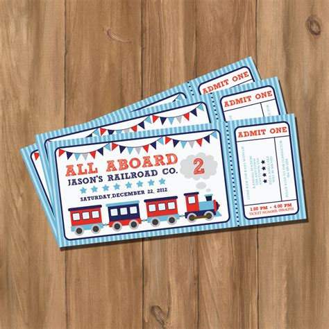 choo choo train ticket birthday party invitation digital