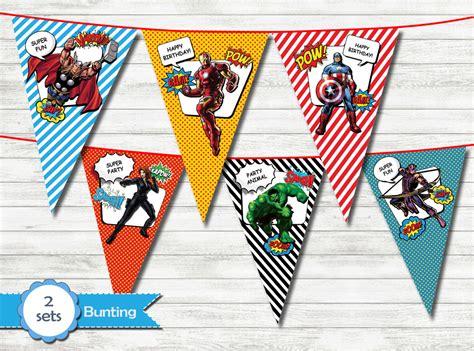 Bunting Flag Banner Flag Segitiga Avangers banner printable bunting