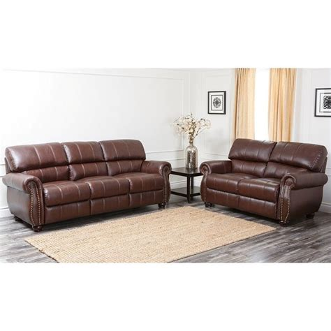 Burgundy Leather Sofa Set with Abbyson Living Lea 2 Leather Sofa Set In