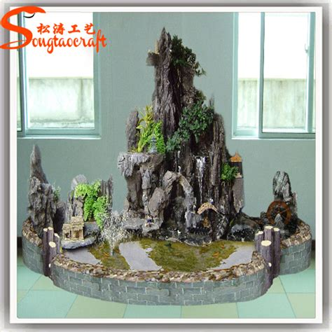 artificial fiberglass rock waterfall home decoration