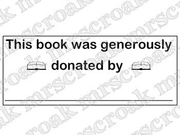 Free Labels Blook Plate Donated Books 30 Per Page By Mrscroak Book Donation Template