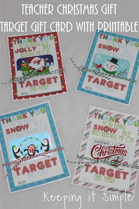 teacher christmas gift idea target gift card with